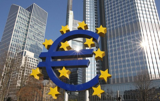 The Euro logo is pictured in front of the former headquarter of the European Central Bank (ECB) in Frankfurt, western Germany. Photo: AFP, Amelie Querfurth