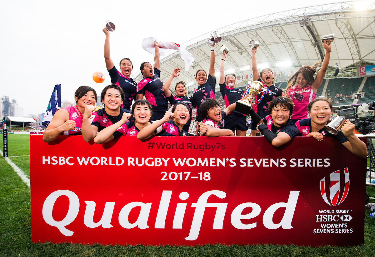 Japanese women celebrate victory in a rugby event in Hong Kong. 'Qualified but unrecognized' may sum up the status of women in politics and business in their paternalistic society. Photo: HK Rugby Union