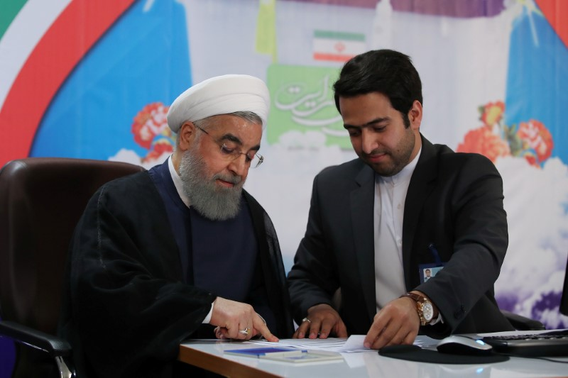 Iran's President Hassan Rouhani registers to run for a second four-year term in the May election, in Tehran. Photo: Reuters