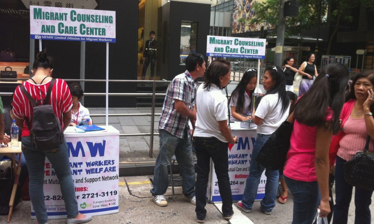 Nine out of 10 domestic workers survey by the Mission for Migrant Workers complained about long working hours. Photo: MFMW