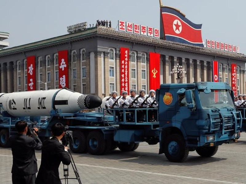 A North Korean navy truck carries a Pukkuksong submarine-launched ballistic missile during a military parade marking the 105th birth anniversary of Kim Il-sung in Pyongyang on April 15, 2017. Photo: Reuters/Damir Sagolj