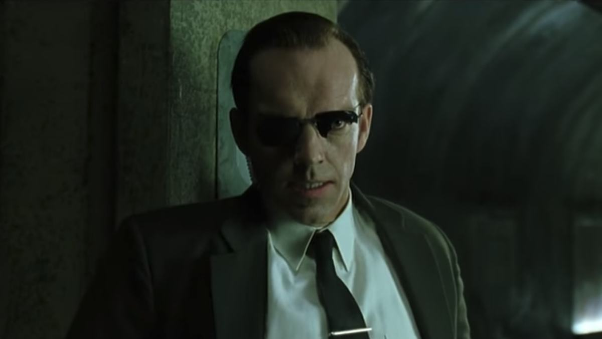 Hugo Weaving as Mr Smith in a scene from The Matrix. Photo: YouTube trailer