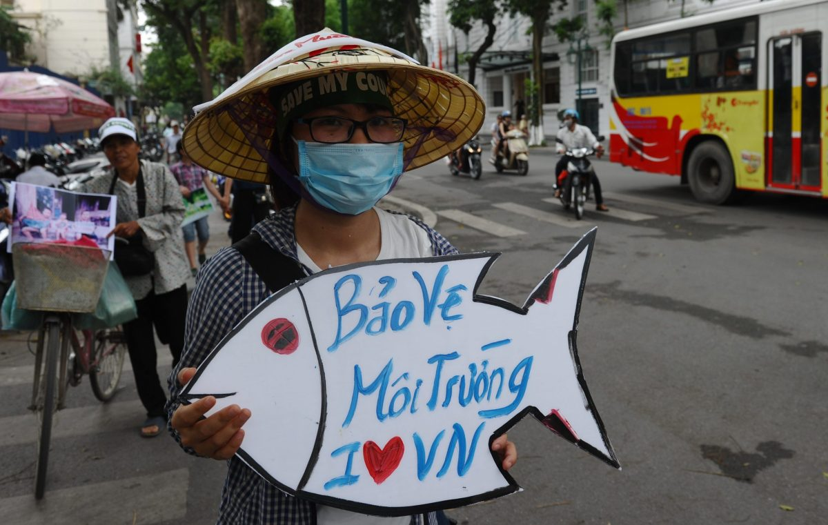 Vietnamese protesters demonstrate against Taiwanese conglomerate Formosa during a rally in downtown Hanoi on May 1, 2016 against a toxic spill that caused massive fish deaths along the country's central coast. Photo: AFP/Hoang Dinh Nam