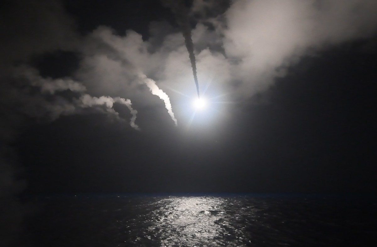 US guided-missile destroyer USS Porter taking part in a cruise-missile strike against a Syrian air base in April of last year. Photo: US Navy via AFP/Ford Williams