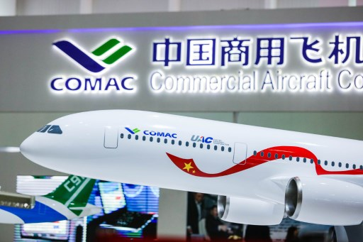 A model of a wide-body commercial jet being developed by China's COMAC and Russia's United Aircraft Corporation. Photo: AFP