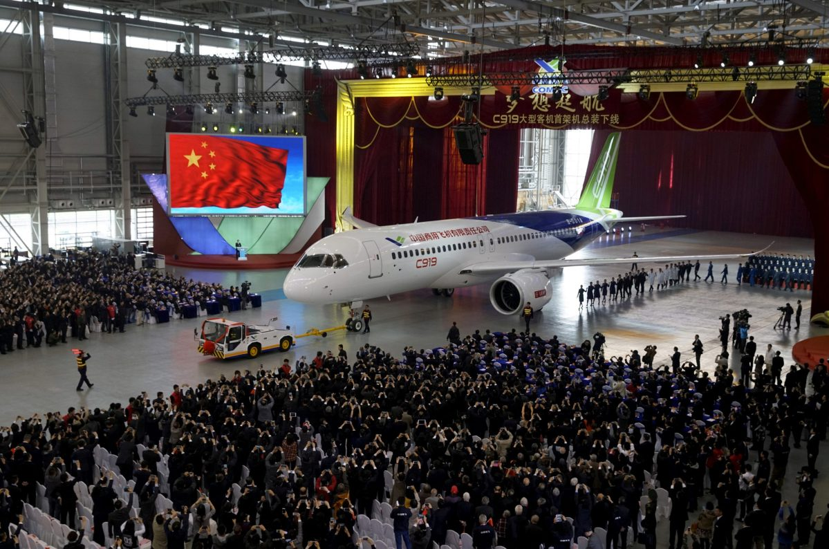 The first C919 passenger jet made by the Commercial Aircraft Corp of China (Comac) is pulled out at the company's factory in Shanghai in a ceremony held in 2016. Photo: Reuters/Stringer