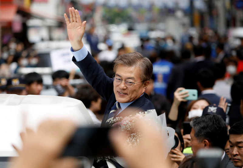 Moon Jae-in on the campaign trail earlier in 2017. Photo: Reuters