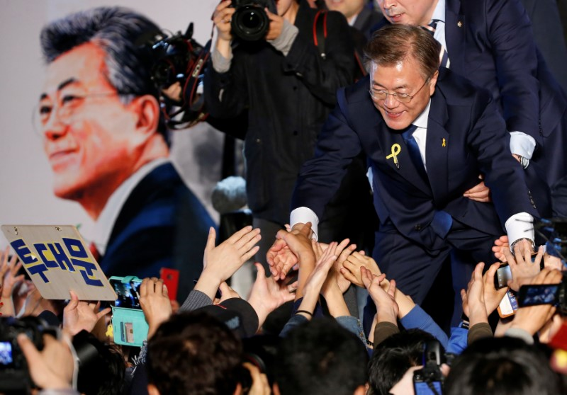 South Korea's president Moon Jae-in thanks supporters in Seoul, South Korea, May 10, 2017. REUTERS/Kim Kyung-Hoon