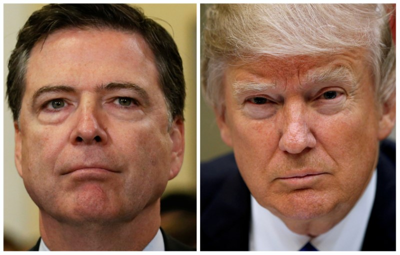 Former FBI director James Comey and US President Donald Trump. Photo: Reuters