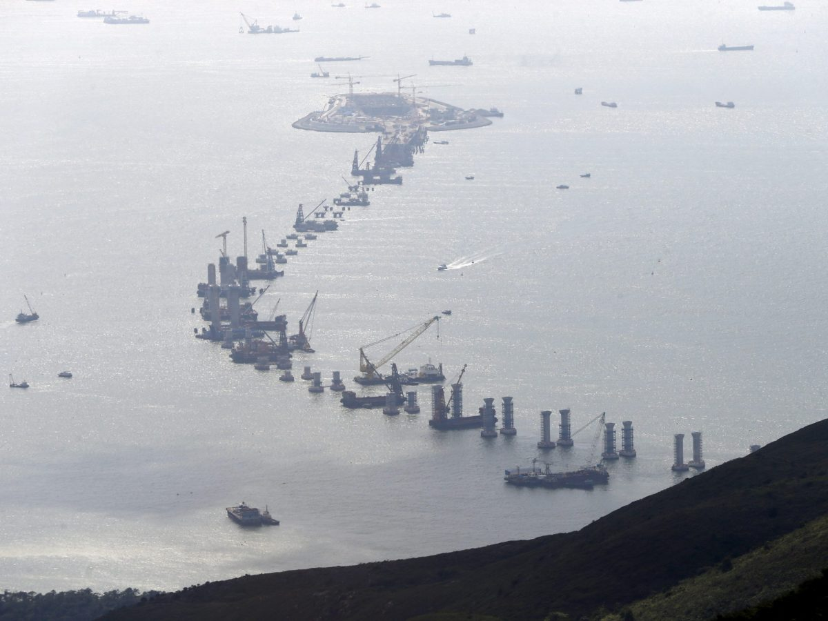 The Hong Kong-Zhuhai-Macao Bridge, which will link the three cities in the Pearl River Delta, is under construction off Hong Kong's Lantau Island. Photo: Reuters/Bobby Yip
