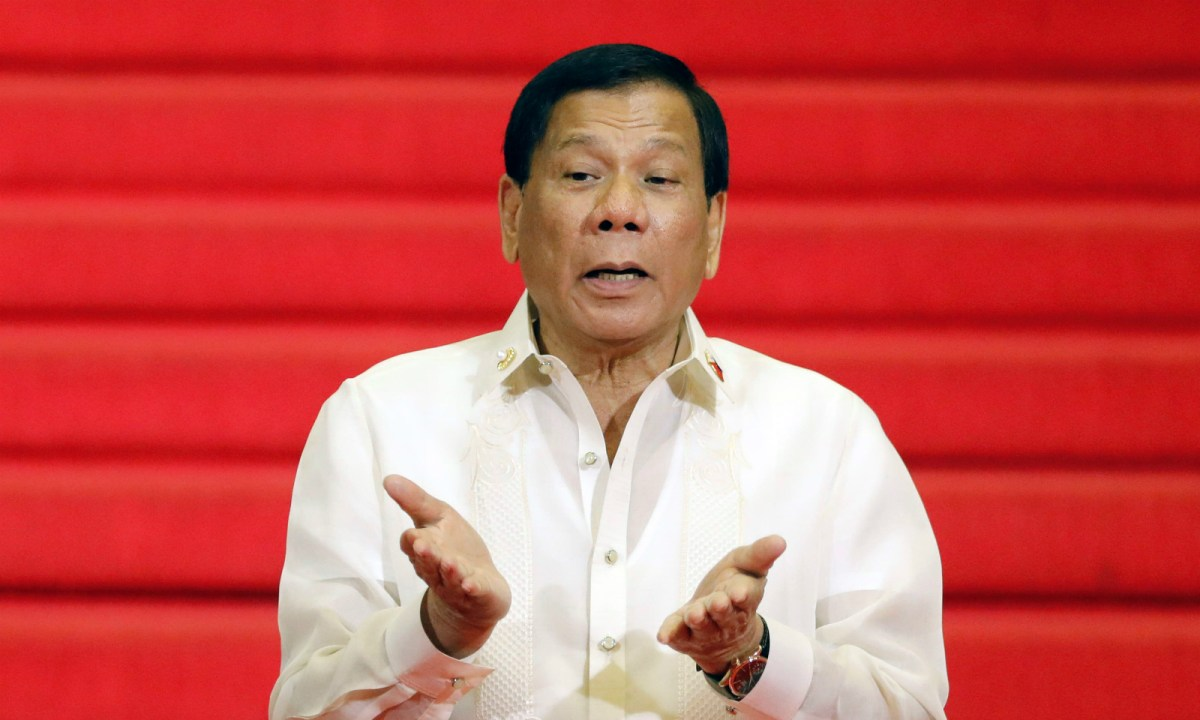 President Duterte would be holding a Filipino community meeting on Saturday afternoon in Hong Kong. Photo: Reuters