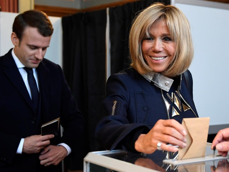 Brigitte Trogneux, wife of French President-elect Emmanuel Macron casts her ballot at a polling station in Le Touquet, France on May 7, 2017. Photo: Reuters