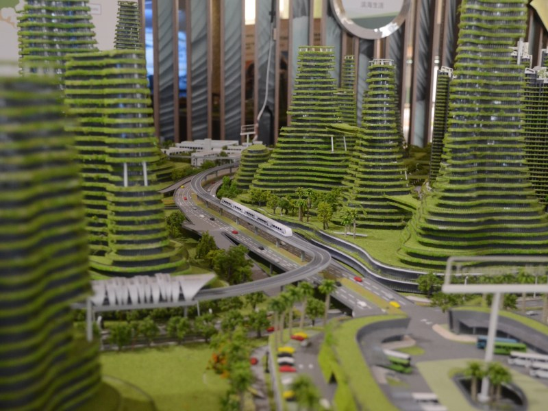 Forest City, in Johor Bahru, Malaysia, is a smart city under development by China's Country Garden. This is a model in a Singapore showroom. Photo: Johan Nylander