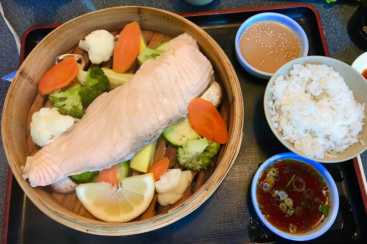 A salmon steamer plate at J-Town's Minato Restaurant. Photo: Julie L Kessler