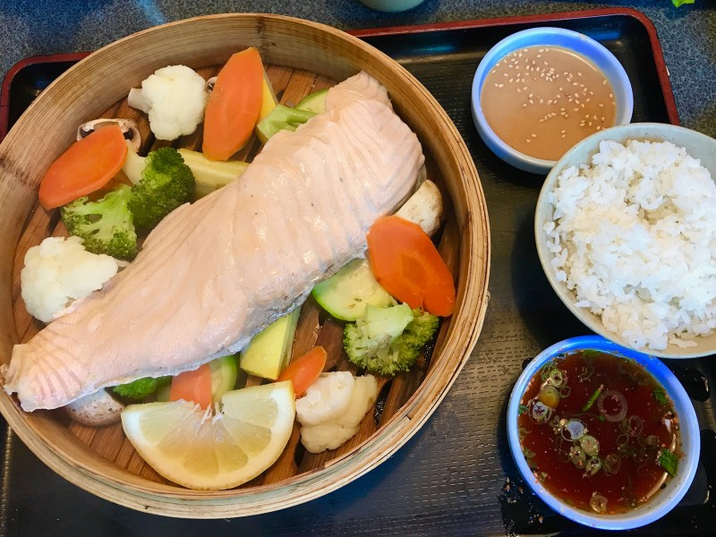 A salmon steamer plate at J-Town's Minato Restaurant. Photo: Julie L Kessler