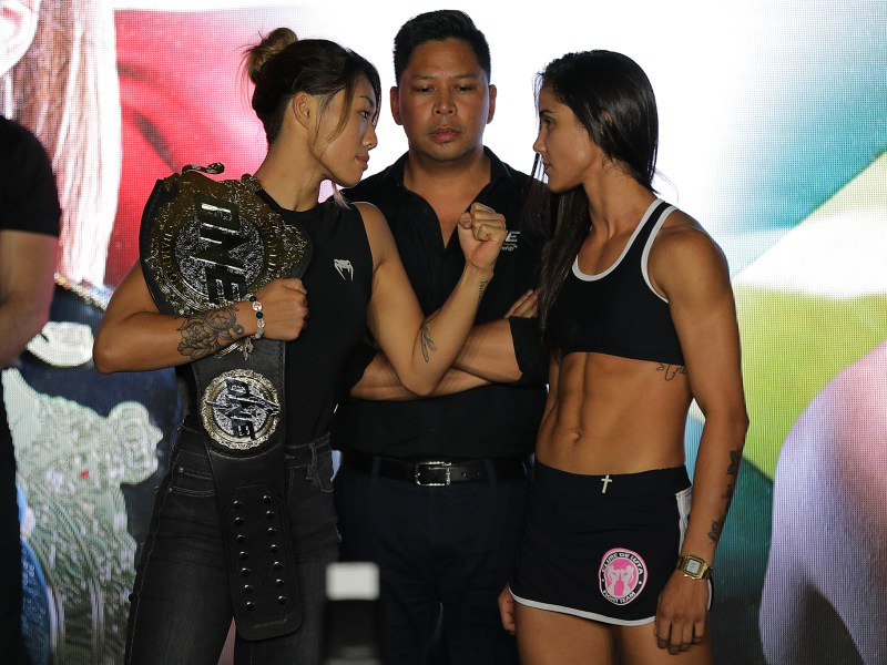 Angela Lee and Istela Nunes. Photo: Dux Carvajal/ONE Championship