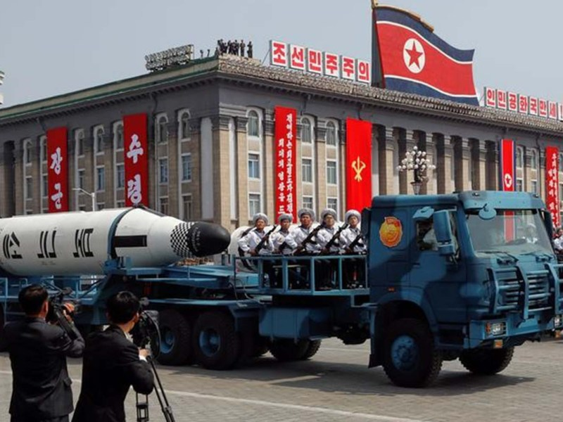 A North Korean navy truck carries the 'Pukkuksong' submarine-launched ballistic missile during a military parade marking the 105th birth anniversary of country's founding father, Kim Il Sung in Pyongyang, April 15, 2017. Photo: Reuters