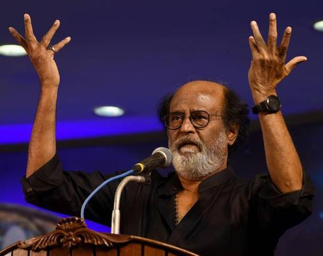 Actor Rajinikanth addresses his fans at the Raghavendra Kalyana Mandapam in Chennai.  Photo: The Hindu