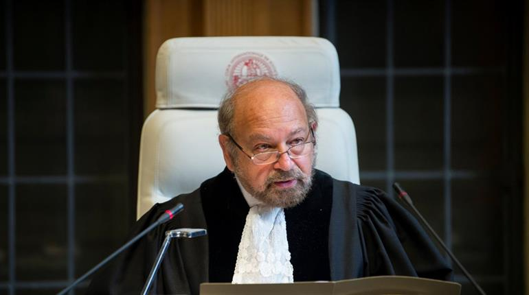 International Court of Justice President Ronny Abraham reads the order on India's petition. Photo via Twitter
