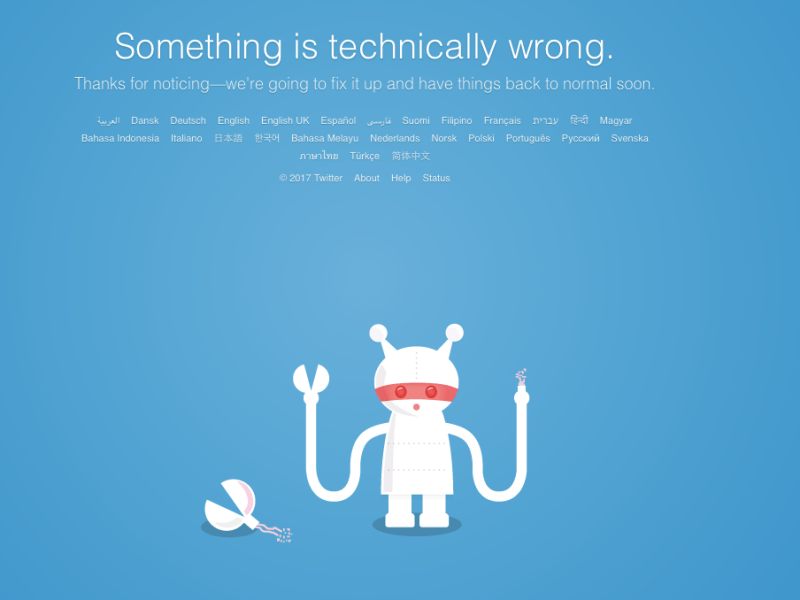 Twitter was down on Tuesday morning in Hong Kong.