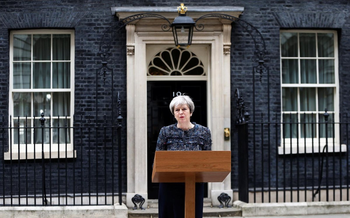 Britain's Prime Minister Theresa May speaks outside 10 Downing Street after Parliament was dissolved ahead of the general election. Photo: Reuters