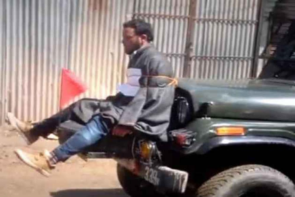 Farooq Ahmad Dar was used by Indian Army personnel as a human shield against stone-throwers outside a polling station in the Budgam district of Jammu and Kashmir in April 2017. Photo: Twitter