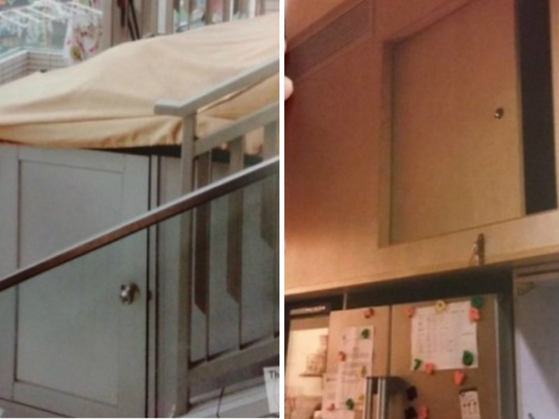 Left, a rooftop bed; right, a kitchen bed. Photos: MFMW