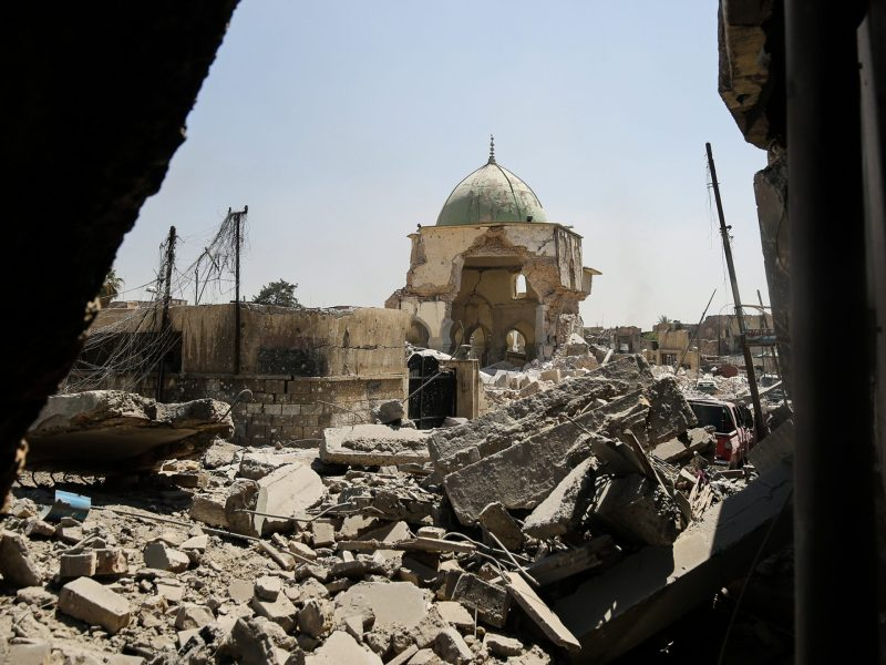 The destroyed Al-Nuri Mosque in the Old City of Mosul is shown on June 29, 2017. Photo: AFP / Ahmad al-Rubaye