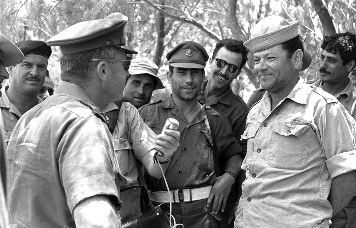 Israel's then Chief of staff Yitzhak Rabin talks to soldiers in the field during the Six-Day War. Photo: Israeli Government Press Office via Flickr