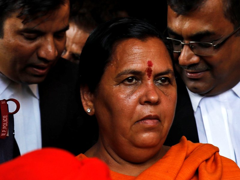 India's Water Resources minister, Uma Bharti, one of the BJP leaders facing charges over the 1992 Babri mosque demolition case, leaves court in Lucknow, on May 30, 2017. Photo: Reuters / Pawan Kumar