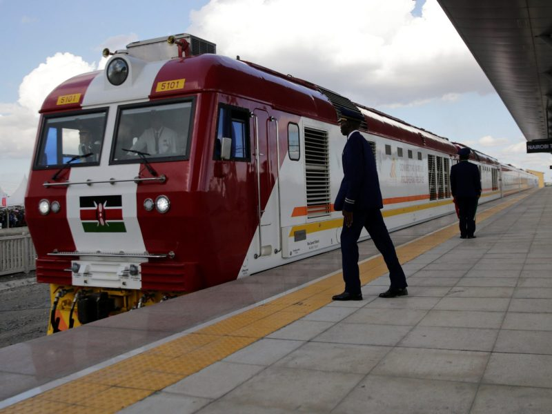 A train on the line constructed by the China Road and Bridge Corporation (CRBC) and financed by the Chinese government arrives at the Nairobi Terminus. Photo: Reuters/Thomas Mukoya