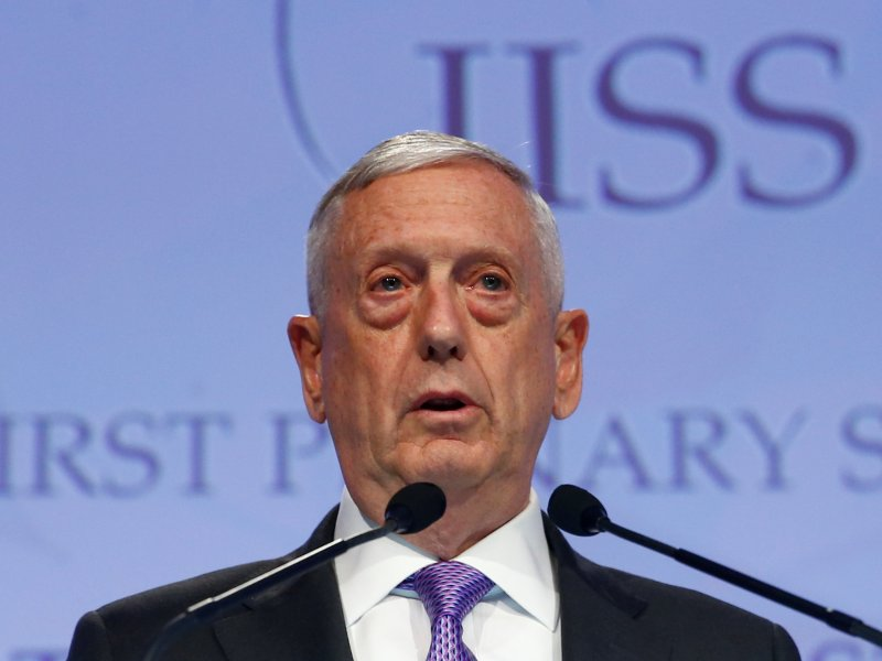 US Secretary of Defense James Mattis speaks at the 16th IISS Shangri-La Dialogue in Singapore on June 3, 2017. Photo: Edgar Su / Reuters