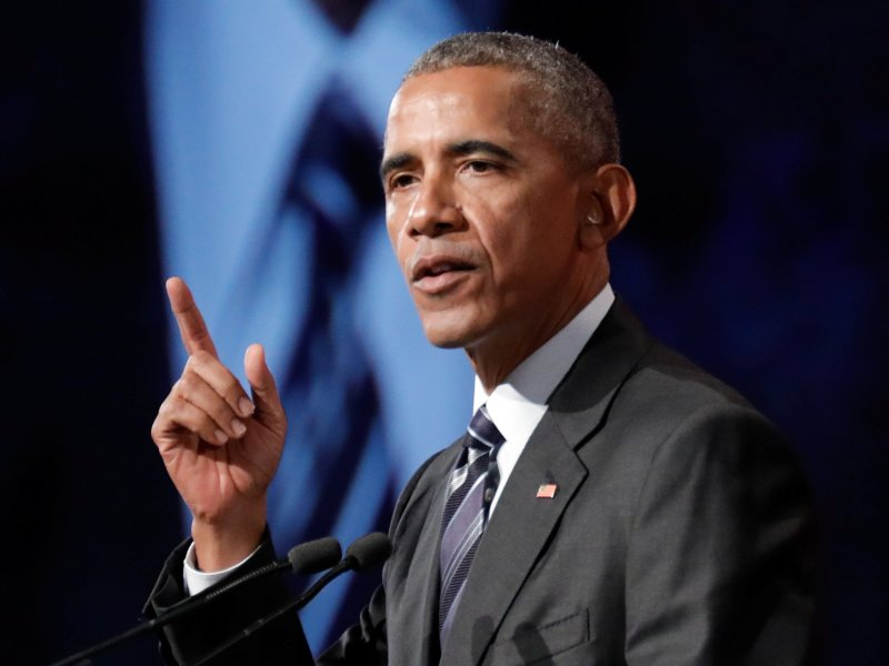 Former US president Barack Obama delivers a speech in Montreal. Photo:  Reuters/Dario Ayala