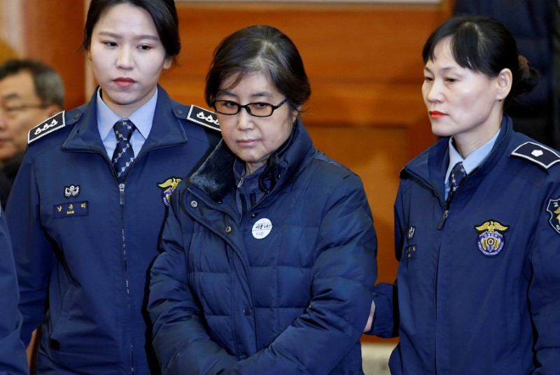 FILE PHOTO - Choi Soon-sil, the woman at the centre of the South Korean political scandal arrives for a hearing in South Korean President Park Geun-hye's impeachment trial at the Constitutional Court in Seoul, South Korea, January 16, 2017.  REUTERS/Kim Hong-Ji