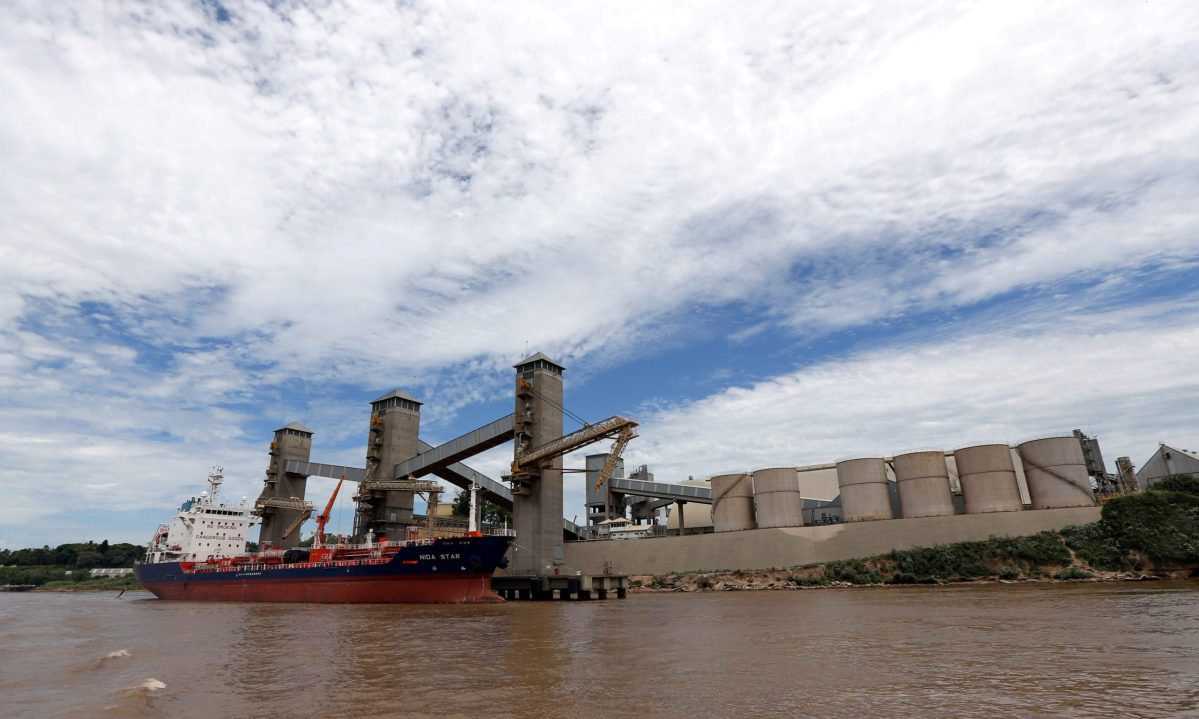 Grain is loaded onto ships for export at a port on the Parana river near Rosario, Argentina. Photo:  Reuters/Marcos Brindicci/File Photo