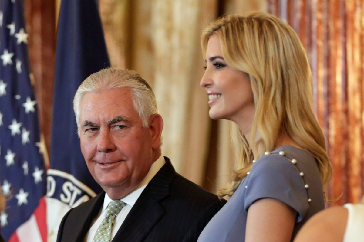 US Secretary of State Rex Tillerson and Ivanka Trump at the 2017 Trafficking in Persons Report (TIP) Ceremony in Washington. Photo: Reuters/Yuri Gripas