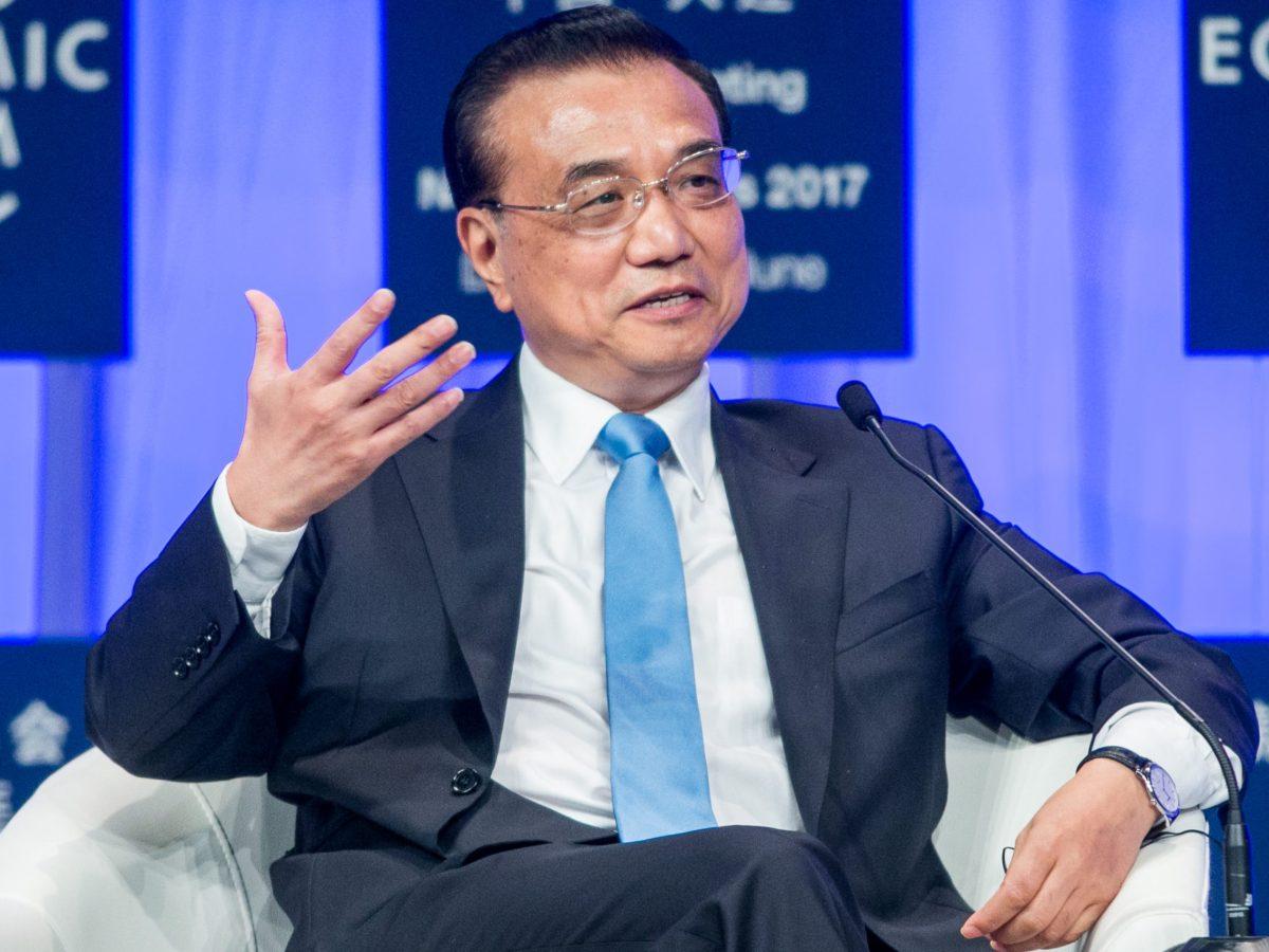 Premier Li Keqiang makes a point at Summer Davos. Photo: World Economic Forum/Benedikt von Loebell via Flickr