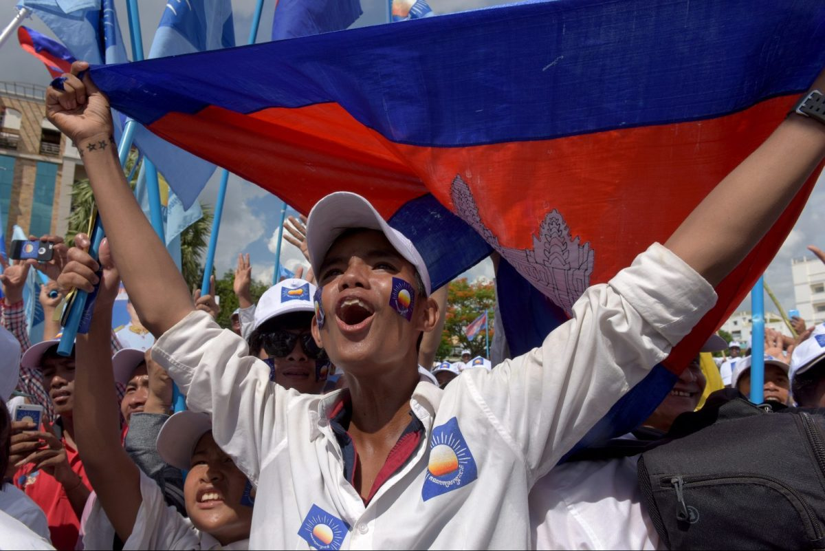 A supporter of Cambodia National Rescue Party (CNRP) shouts slogans in a rally on the last day of the commune election campaign in Phnom Penh on June 2, 2017. Photo: AFP/Tang Chhin Sothy