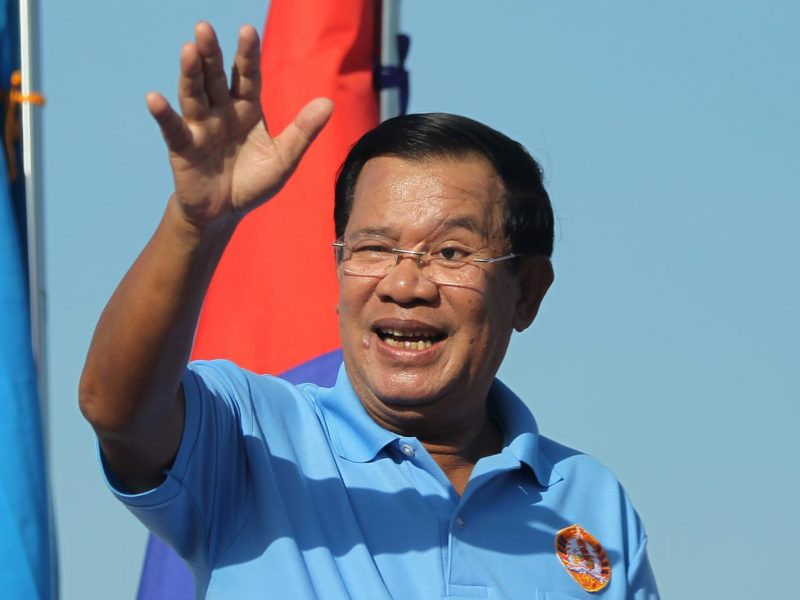 Cambodia Prime Minister Hun Sen waves during a campaign rally in Phnom Penh on June 2, 2017. Photo: Reuters/Samrang Pring
