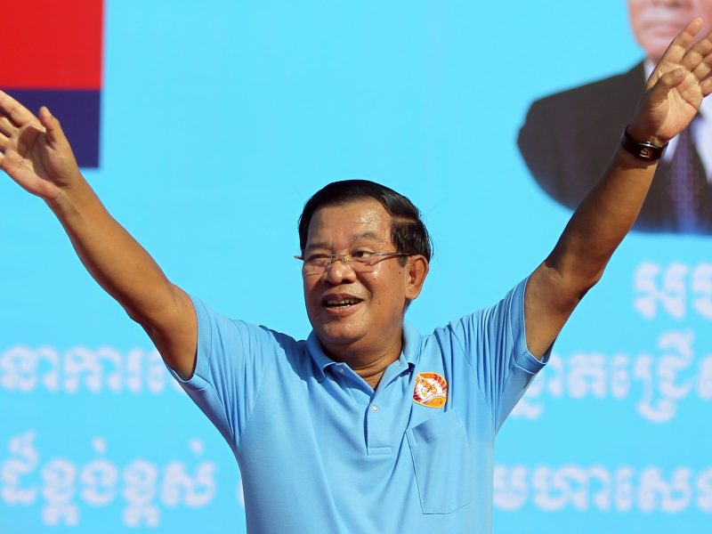 Cambodia's Prime Minister and president of Cambodian People's Party (CPP) Hun Sen waves during a campaign rally in Phnom Penh, Cambodia June 2, 2017. Photo: Reuters/Samrang Pring