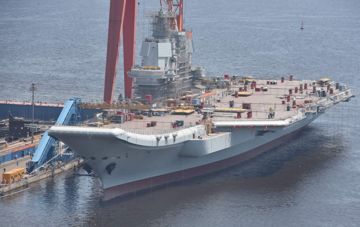 China's first domestically built aircraft carrier, the Type 001A, is shown at Dalian Port in Liaoning province. Photo: AFP