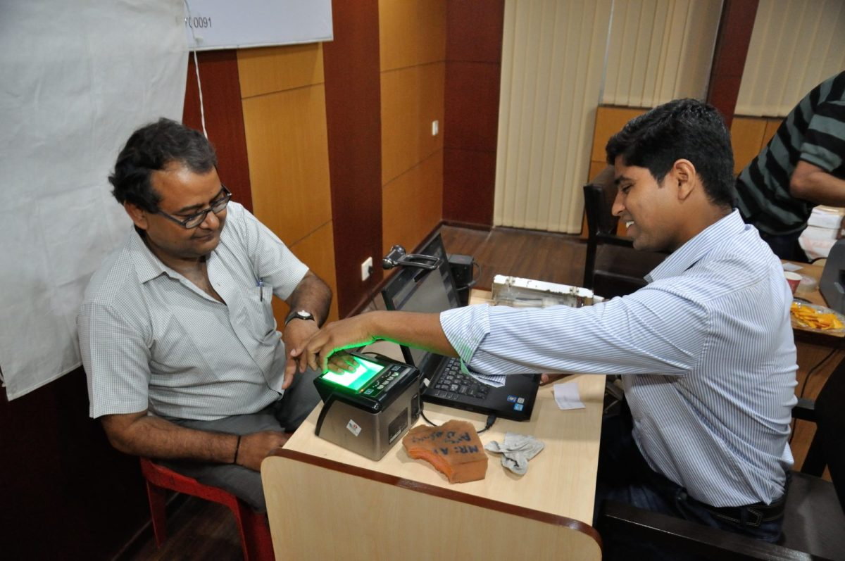 A citizen's biometric data is collected for his Aadhaar card. Photo: Wikipedia Commons