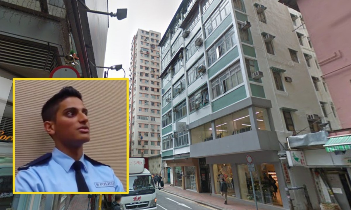 Police constable Ifazal Zaffar (inset) explains the Saturday operation  at an apartment on Minden Row in English and Urdu in a media briefing. Photo: Google Map