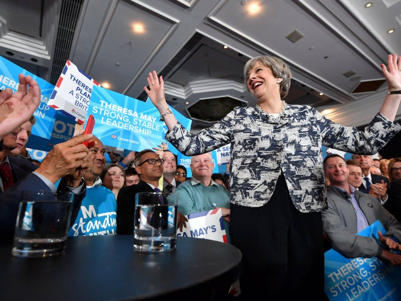 Theresa May attends a campaign rally in the West Midlands town of Solihull ahead of the UK election on June 8, 2017. Photo: Reuters/Ben Stansall/Pool