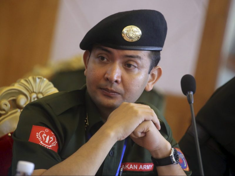 Tun Myat Naing, commander-in-chief of the Arakan Army (AA), attends a meeting of leaders of Myanmar's ethnic armed groups at the United Wa State Army (UWSA) headquarters in Pansang in Myanmar's northern Shan State, May 6, 2015. Rebel leaders in Myanmar on Wednesday urged the government to amend the military-drafted constitution to give more autonomy to ethnic minorities, a step they said would make it easier to sign a national ceasefire agreement.    REUTERS/Stringer - RTX1BTVZ