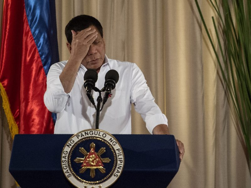 "Philippine President Rodrigo Duterte gestures during a speech on June 1, 2017. A ""tired"" Duterte has taken a break from public duties to rejuvenate, his spokesman said on June 15, 2017, as Islamist gunmen rampaged through a southern city in the biggest crisis of his year-old rule, sparking speculation about the state of his health. Photo: AFP/Noel Celis"