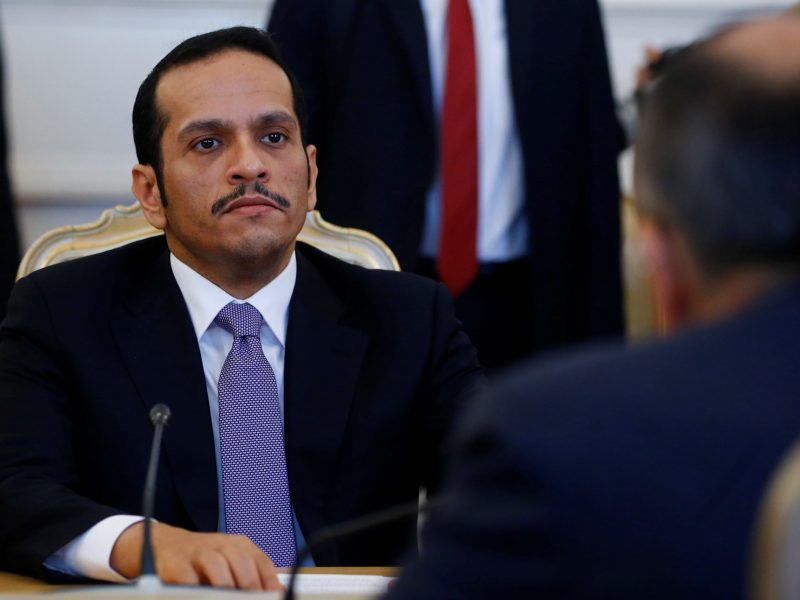 Foreign Minister of Qatar Mohammed bin Abdulrahman bin Jassim Al-Thani attends a meeting with Russian Foreign Minister Sergey Lavrov in Moscow, Russia on June 10, 2017. Photo: Anadolu Agency via AFP Forum/Sefa Karacan