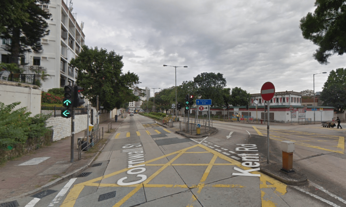 A suspicious object was found at a traffic island at the junction between Cornwall Street and Kent Road in Kowloon Tong. Photo: Google Maps