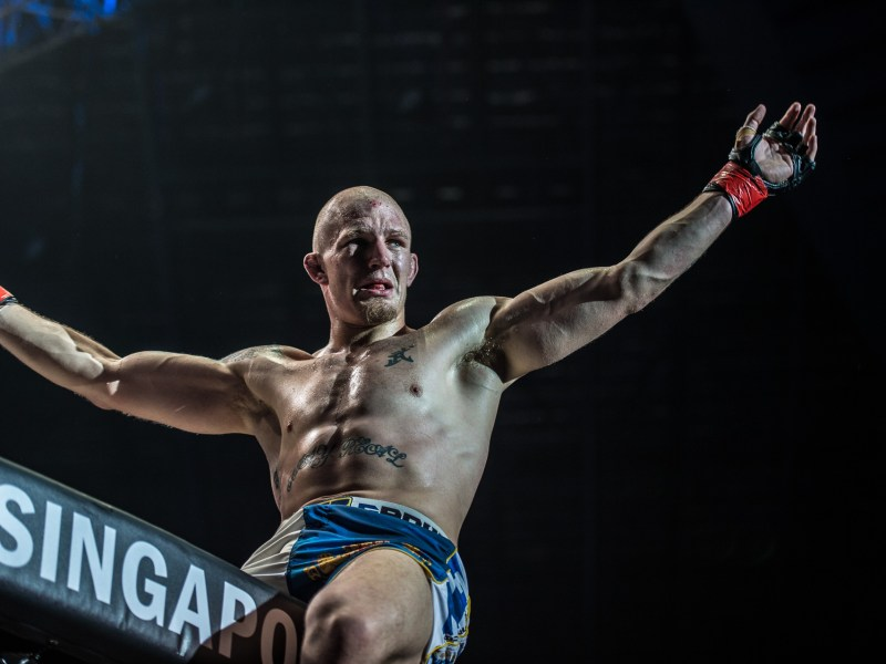 Zebaztian Kadestam  celebrates his victory at the One: Dynasty of Heroes event. Photo: One Championship
