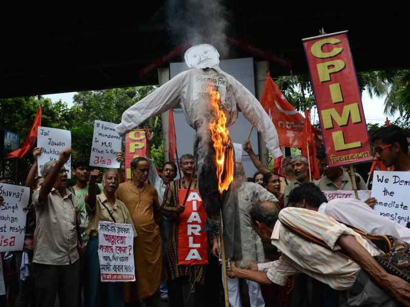 Communist Party of India (MarxistñLeninist) activists protest the killing of five farmers during a protest at Mandsaur in Madhya Pradesh on June 6. The farmers were killed when police fired on protesters demanding better prices in the drought-ravaged region. Photo: Sonali Pal Chaudhury/NurPhoto